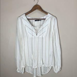 🌻 Blu Pepper White Long Sleeve Cross Front Blouse